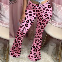 Plus Size Leopard Print Long Skinny Flared Pants OYF-8218