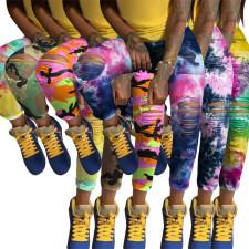 Plus Size Tie Dye Ripped Hole Skinny Jeans SH-3844