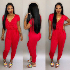 Casual Solid V Neck Short Sleeve Jumpsuits TR-864