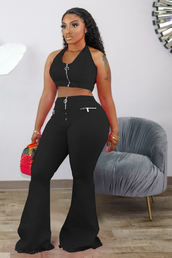 Sexy Halter Backless Tops Flare Pants 2 Piece Sets HM-6338