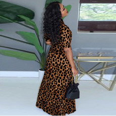 Leopard Print Half Sleeve Maxi Dress TE-4048