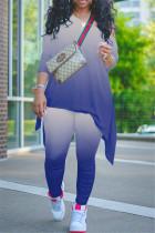 Gradient Oblique Collar Two Piece Pants Set MOY-5260