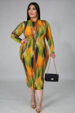 Plus Size 5XL Tie Dye Long Sleeves Slim Midi Dress BMF-016