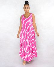 Plus Size Printed Sleeveless Long Dress CQ-051