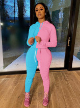 Contrast Color Hoodies Stacked Pants 2 Piece Sets MA-364