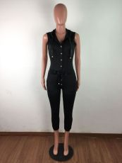 Black Hooded Sleeveless One Piece Jumpsuits LX-9963