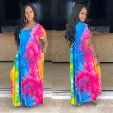 Plus Size Tie Dye Short Sleeve Pocket Maxi Dress YFS-3557