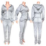 Solid Hooded Zipper Stacked Pants 2 Piece Sets HHF-9038