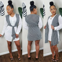 Casual Long Sleeve Buttons Shirt Dress AWF-0019