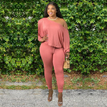 Plus Size Solid Long Sleeve Two Piece Pants Set WAF-7050