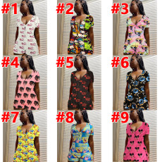 Cartoon Print Short Sleeve One Piece Rompers SHD-9320