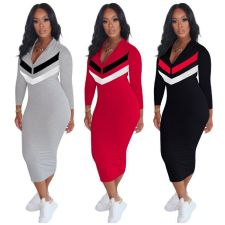 Plus Size Casual Zipper Long Sleeve Slim Midi Dress OM-1162