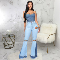 Plus Size Denim Hole Patchwork Flared Jeans HSF-2319