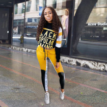 Letter Print Long Sleeve Sporty 2 Piece Pants Set SH-3854