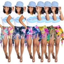 Plus Size Tie Dye Denim Tassel Jeans Shorts SH-3845
