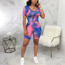 Tie Dye T Shirt And Shorts Two Piece Suits SMR-9658