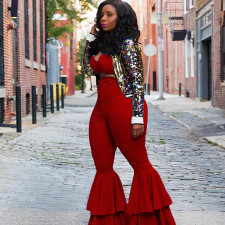 Plus Size Solid Ruffed Long Flare Pants ABF-6605