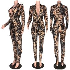 Sexy Leopard Long Sleeve Two Piece Pants Set MDF-5089