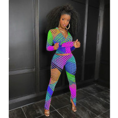Casual Printed Tight 2 Piece Pants Set Without Mask MDF-5160
