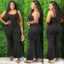 Plus Size Solid Rib Tank Top Long Pants 2 Piece Sets OSM2-6111