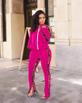 Plue Size Leopard Patchwork Zipper 2 Piece Pants Set RSN-774