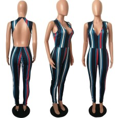 Fashion New Sexy Backless Striped Jumpsuit HMS-5124