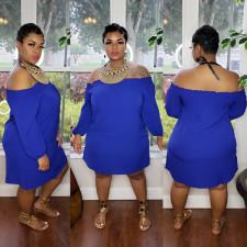Plus Size Solid Slash Neck Long Sleeve Dress PN-6581