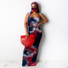 Tie-dye Sexy Nightclub Spaghetti Strap Dress With Belt + Printed Mask CYA-8517