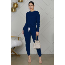Solid Long Sleeve Ruched Pants Two Piece Suits IV-8121