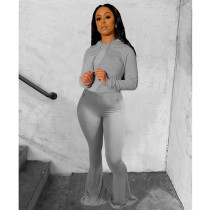 Solid Hooded Flared Pants Two Piece Sets IV-8120