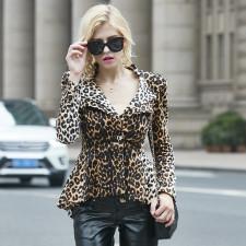 Leopard Print Notched Collar Blazer Coat YM-9237
