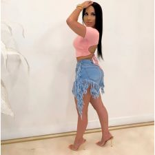 Trendy Denim Tassel Butterfly Jeans Shorts LM-8178