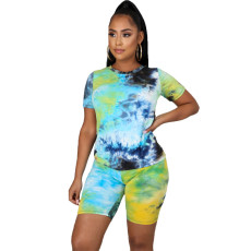 Plus Size 5XL Tie-dye Round Neck Casual Fashion Home Sports Two Piece Set CYA-8582