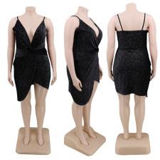 Plus Size 4XL Sexy Elegant Suspender V Neck Irregular Nightclub Dress CYA-1226