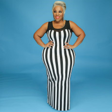 Fat MM Plus Size 5XL Black And White Striped Slim Long Dress CYA-1249