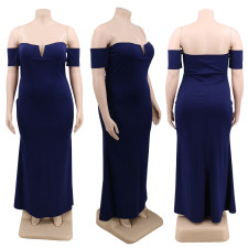 Plus Size Solid Off Shoulder Slim Long Dress CYA-1222