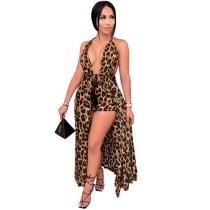 Leopard Print Shorts Hanging Neck Dress Coat Two Piece Suit CYA-8646
