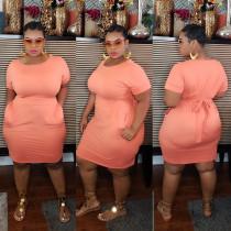Plus Size Solid O Neck Short Sleeve Sashes Bodycon Dress CYA-1218