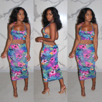 Sexy Floral Print Cross Top And Bodycon Skirt Two Piece Set MUL-113