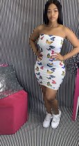 Sexy Butterfly Print Breast Wrap Party Mini Dress MUL-125