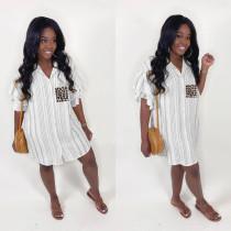 Fashion Sweet Ruffle Sleeve Striped Shirt Dress MUL-114
