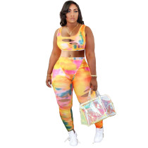 Sexy U Neck Tie Dye Print Ripped Hole Night Party Club Set MUL-137