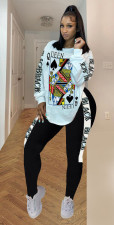 Plus Size Poker Print Long Sleeve 2 Piece Pants Set SHA-6171