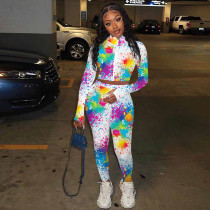 Tie Dye Long Sleeve Zipper Two Piece Pants Set TE-4095