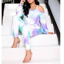 Tie Dye Print Long Sleeve 2 Piece Pants Set SHA-6173