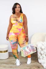 Plus Size 4XL Sexy U Neck Tie Dye Print Ripped Hole Night Party Club Jumpsuit MUL-133