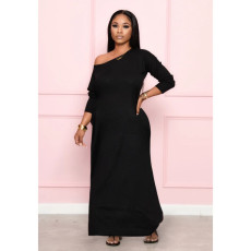 Black Long Sleeves Casual Maxi Dress MYF-887