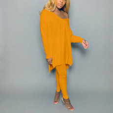 Solid Sports Long Sleeve Top And Pants Two Piece Set NIK-173