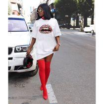 Plus Size Lips Print Short Sleeve O Neck T Shirt Dress YFS-2024