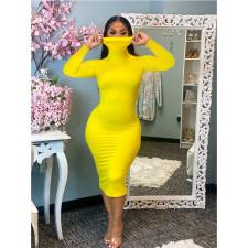 Plus Size Solid Turtleneck Long Sleeve Slim Midi Dress SHE-7211